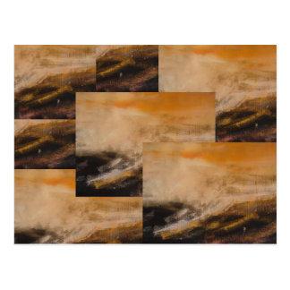 Diseño abstracto amarillo de Brown Tarjetas Postales
