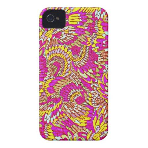 Diseño abstracto amarillo rosado impresionante del Case-Mate iPhone 4 coberturas