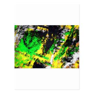 Diseño abstracto amarillo verde tarjeta postal