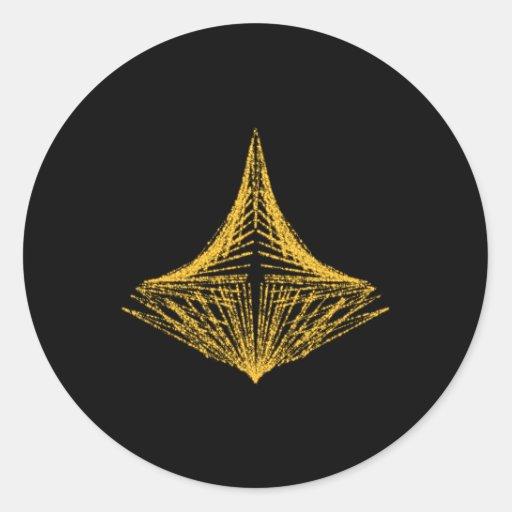 Diseño abstracto, ardientemente ámbar y negro etiqueta redonda