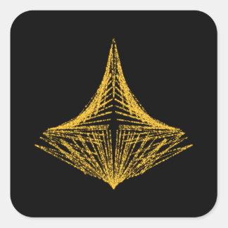 Diseño abstracto, ardientemente ámbar y negro calcomania cuadrada personalizada