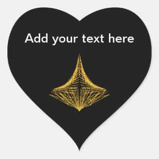 Diseño abstracto, ardientemente ámbar y negro calcomanías de corazones personalizadas