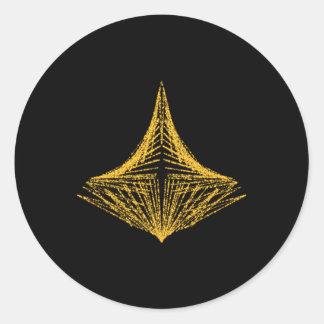 Diseño abstracto, ardientemente ámbar y negro pegatina redonda