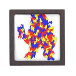 Diseño abstracto azul amarillo rojo de la criatura caja de recuerdo de calidad