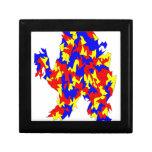 Diseño abstracto azul amarillo rojo de la criatura caja de joyas