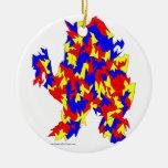 Diseño abstracto azul amarillo rojo de la criatura adorno de reyes