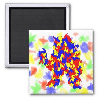 Diseño abstracto azul amarillo rojo de la criatura imán cuadrado