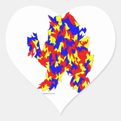 Diseño abstracto azul amarillo rojo de la criatura calcomania corazon personalizadas