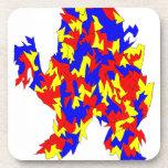 Diseño abstracto azul amarillo rojo de la criatura posavasos