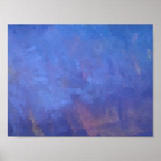 Diseño abstracto azul de los cuadrados póster