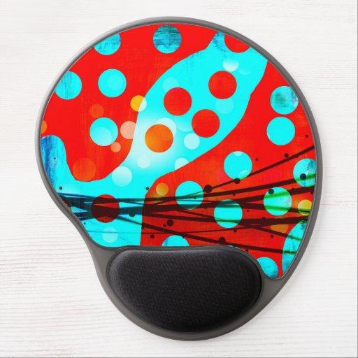 Diseño abstracto azul rojo intrépido enrrollado de alfombrilla de ratón con gel
