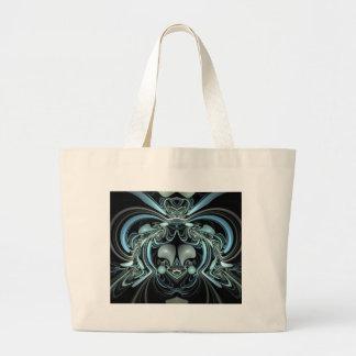 Diseño abstracto azul y negro bolsa tela grande