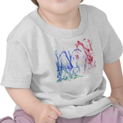 Diseño abstracto blanco del garabato del verde del camiseta