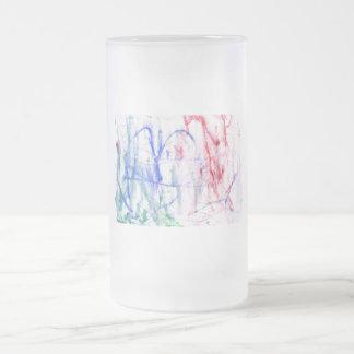 Diseño abstracto blanco del garabato del verde del taza cristal mate