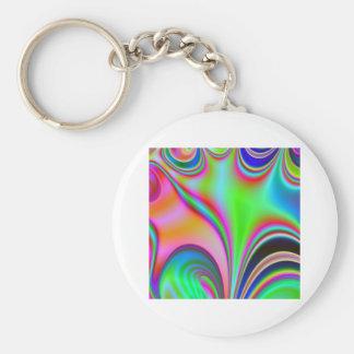 Diseño abstracto brillante fabuloso Rainbo del art Llavero Redondo Tipo Pin