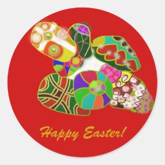Diseño abstracto colorido de los huevos de Pascua Pegatina Redonda