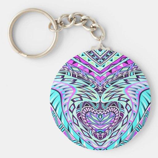 Diseño abstracto colorido llavero personalizado