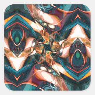 Diseño abstracto colorido calcomanía cuadradas personalizadas