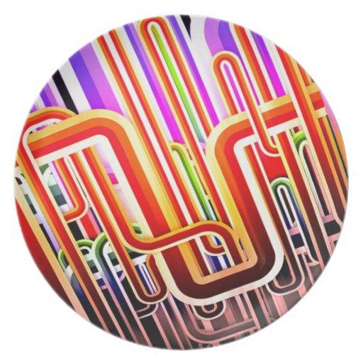Diseño abstracto colorido platos para fiestas
