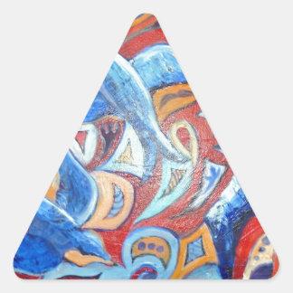 Diseño abstracto con los tragos del azul con colcomanias de trianguladas