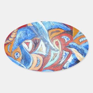 Diseño abstracto con los tragos del azul con pegatina ovalada