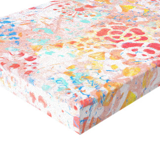 Diseño abstracto contemporáneo azul amarillo rojo impresión en lienzo