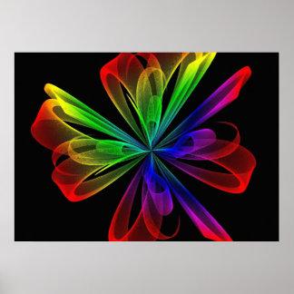 Diseño abstracto de la onda del fractal póster