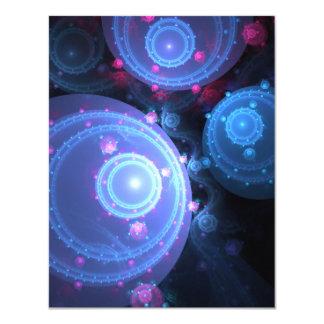 """Diseño abstracto de los orbes del fractal invitación 4.25"""" x 5.5"""""""