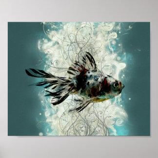 Diseño abstracto de los pescados póster