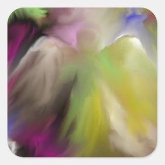 Diseño abstracto del ángel pegatina cuadrada