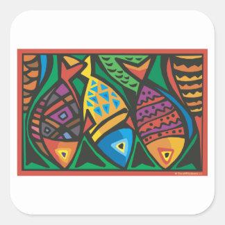 Diseño abstracto del arte de los pescados calcomania cuadrada personalizada