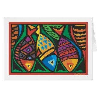 Diseño abstracto del arte de los pescados tarjeta de felicitación