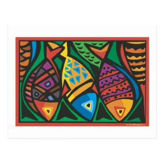 Diseño abstracto del arte de los pescados tarjeta postal