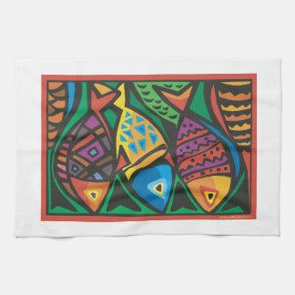 Diseño abstracto del arte de los pescados toallas de mano