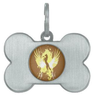 Diseño abstracto del caballo placa de nombre de mascota