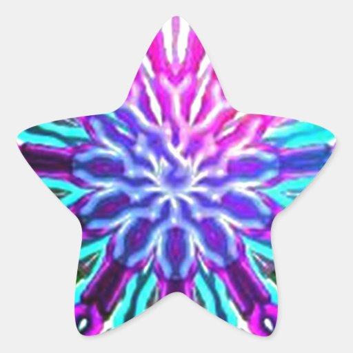 Diseño abstracto del caleidoscopio del arco iris pegatinas forma de estrella personalizadas