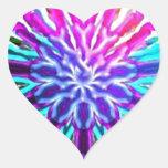 Diseño abstracto del caleidoscopio del arco iris pegatinas de corazon
