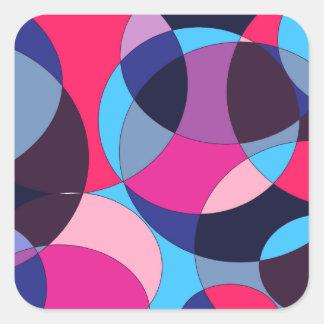 Diseño abstracto del círculo del disco pegatina cuadrada