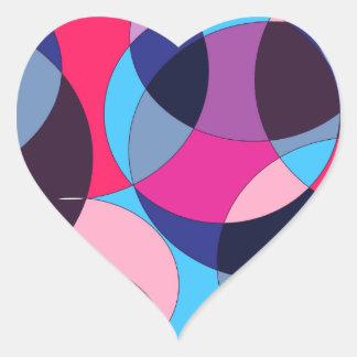 Diseño abstracto del círculo del disco pegatina en forma de corazón