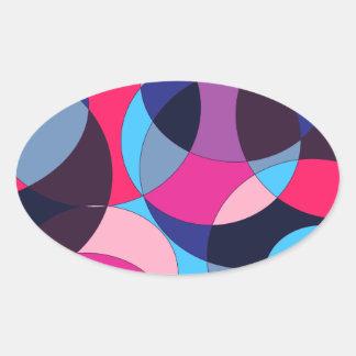 Diseño abstracto del círculo del disco pegatina ovalada