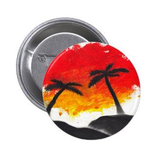 Diseño abstracto del paisaje de la pintura pin redondo 5 cm