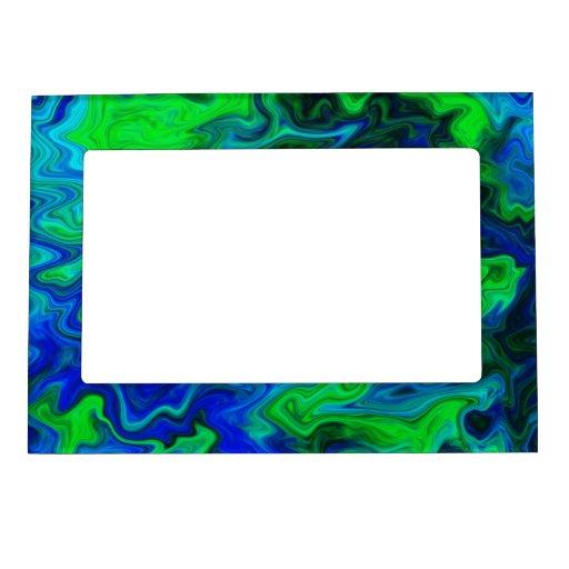 Diseño abstracto en azul y verde marcos magneticos