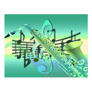 Diseño abstracto en colores pastel del saxofón tarjeta postal