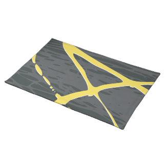 Diseño abstracto en gris y amarillo manteles individuales