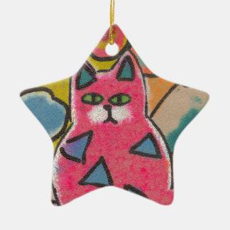 Diseño abstracto loco colorido del gato adorno navideño de cerámica en forma de estrella
