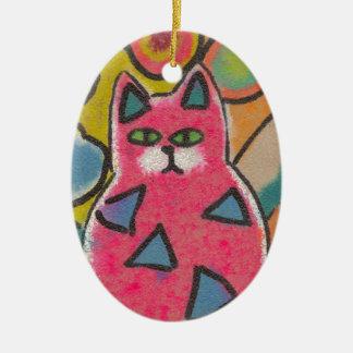 Diseño abstracto loco colorido del gato adorno navideño ovalado de cerámica