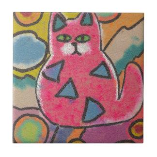 Diseño abstracto loco colorido del gato azulejo cuadrado pequeño