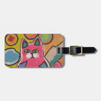 Diseño abstracto loco colorido del gato etiquetas maleta