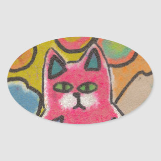 Diseño abstracto loco colorido del gato pegatina ovalada