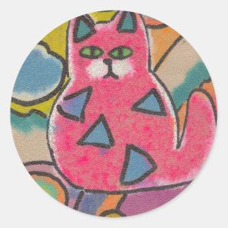 Diseño abstracto loco colorido del gato pegatina redonda